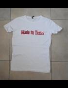 Sinsay biała koszulka made in texas usa napis print...