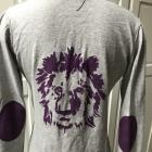 Szara bluzka z fioletowym lwem styl KENZO