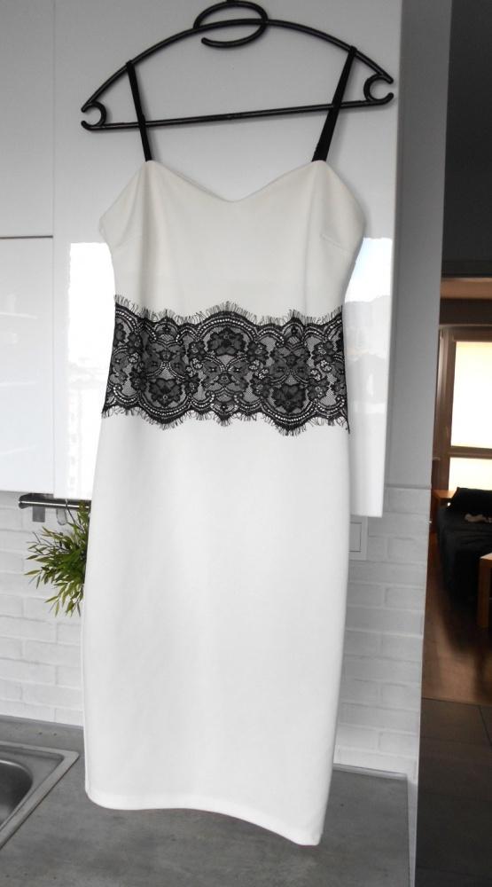 Lipsy sukienka biała bodycon koronka sexy wesele...