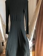 Czarna sukienka H&M M 38 prążkowana tkanina elastyczna midi dłu...