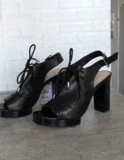 Zara nowe buty na słupku skóra skórzane czarne mokasyny...