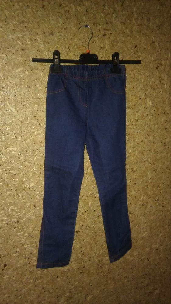 Niebieskie legginsy na gumce rurki ala jeansy 116 cm...