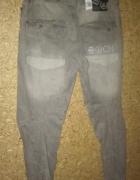 Cross Szare jeansy z przeszyciemi W36...
