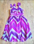 Sukienka Orsay 40 L 38 M retro vintage szyfon zwie...