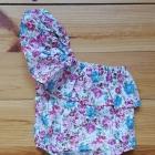 Nowy strój kąpielowy kostium dziecięcy dziewczęcy 90 2 3 lata kolorowy kwiaty falbana