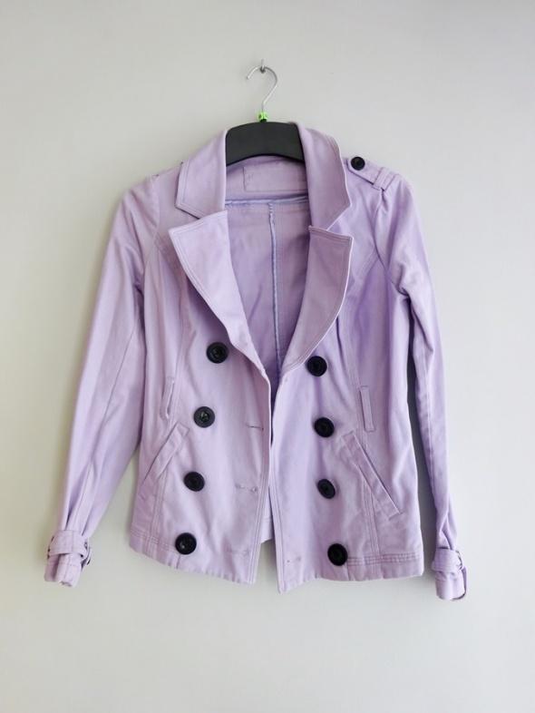 wiosenny wrzosowy lawendowy letni cienki płaszcz płaszczyk 36 S