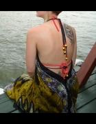 Jedwabna sukienka odkryte plecy dekolt XS S M L...