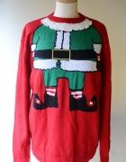 Sweter H&M Święty Mikołaj M 38 Święta Czerwony Men...