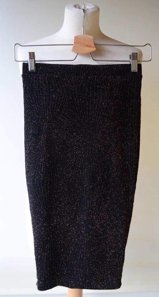 Spódnice Spódniczka Czarna Bik Bok XS 34 Brokat Złota Nitka