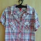 Czerwono niebieska koszula w kratę H&M XS 34