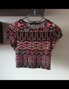 Crop top etniczne wzory bluzeczka różowa 36 s 34...