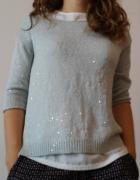 Sweterek miętowy z drobnymi cekinami
