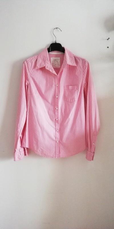 H&M koszula paski pudrowy róż basic