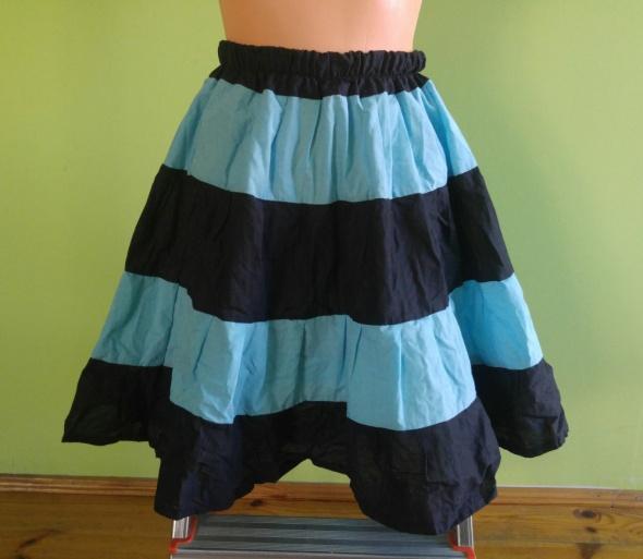 Spódnice Czarno niebieska paski spódnica rozkloszowana na g