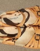 Sandały buty skórzane damskie rozmiar 37 38 nude