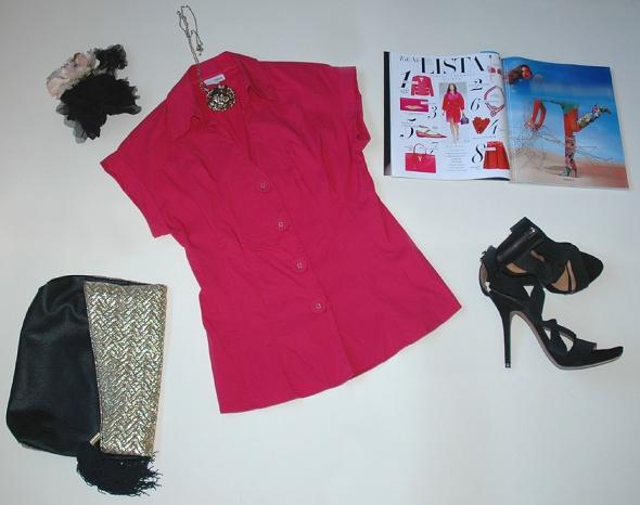 Bluzka NEXT fuksja róż kimono pin up origami S...