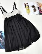 Sukienka TOM WOLFE kwiaty 3D szyfon wieczorowa S