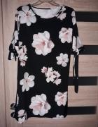Kwiaty czarna xl