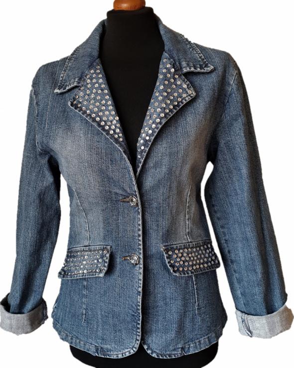 Odzież wierzchnia WYPRZEDAŻ kurtka jeansowa marynarka kamienie cyrkonie L XL USA