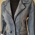 WYPRZEDAŻ kurtka jeansowa marynarka kamienie cyrkonie L XL USA