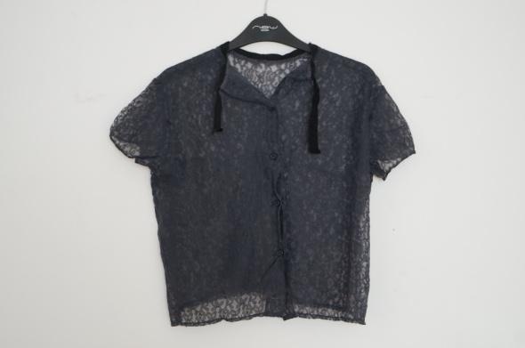 Granatowa przezroczysta koronkowa bluzka S M L