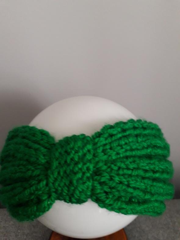 Opaska wełniana ręcznie robiona zielona