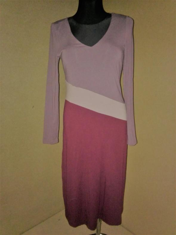 Trzy kolorowa sukienka midi z długim rękawem 36 3