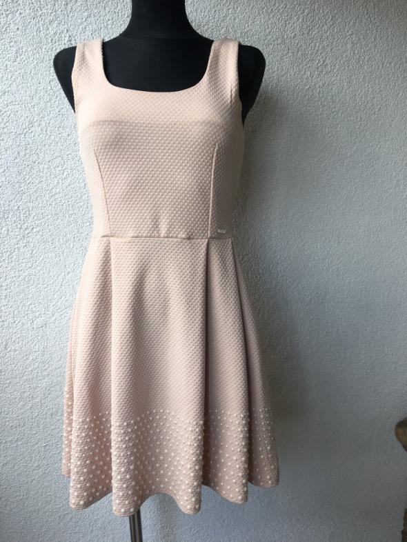 Kloszowana sukienka pudrowy róż S wesele...