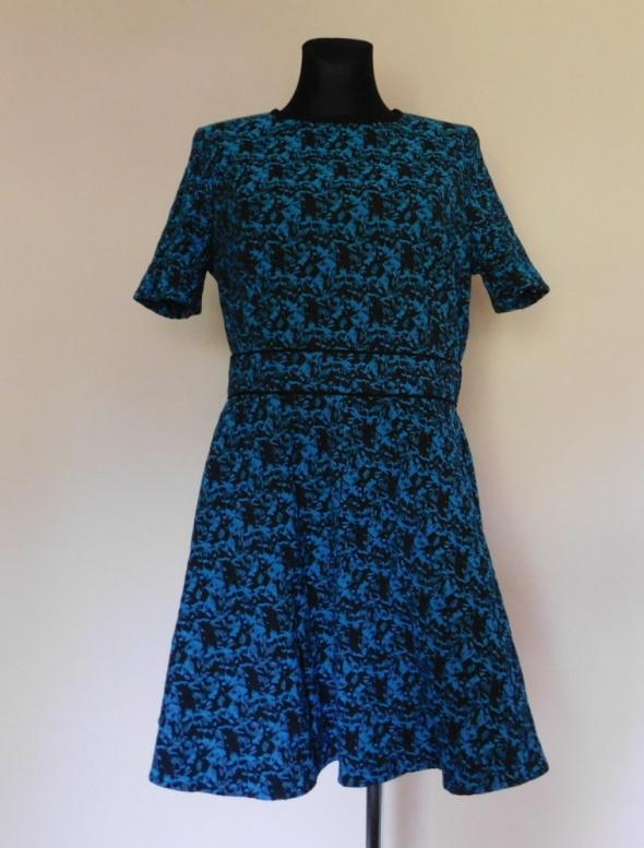 Warehouse sukienka midi czarna niebieska 42 44...