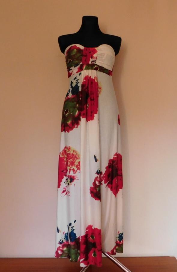 Ax Paris sukienka maxi biała kwiaty 36 38