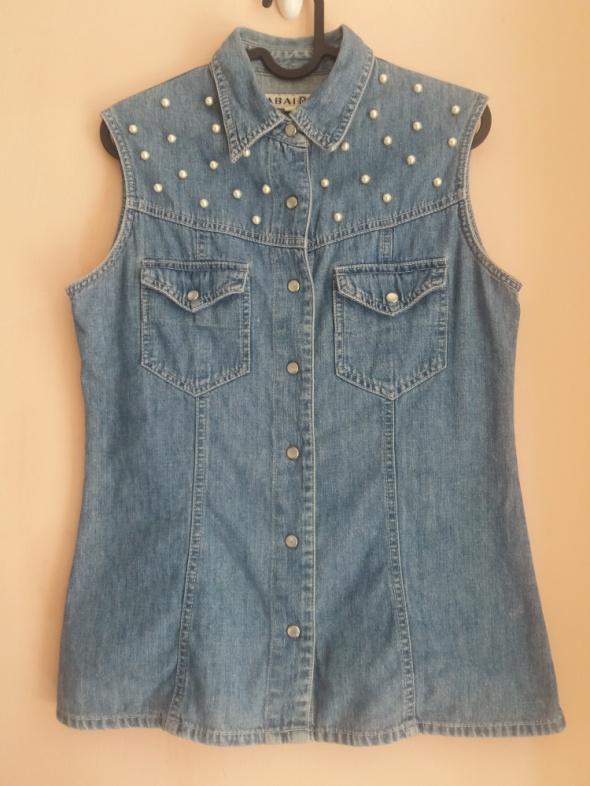 Bluzka jeans na zatrzaski ozdobne perełki Zabaione