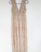 Długa letnia sukienka H&M 38 M brązowa wzór maxi szyfon grecka ...