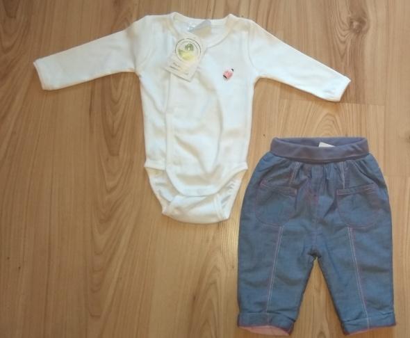 Nowy komplet niemowlęcy białe body z długim rękawem i ocieplane spodnie 56 62