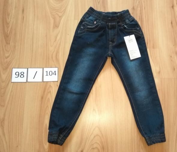 Joggery jeansowe nowe spodnie na gumkach z gumkami 98 104