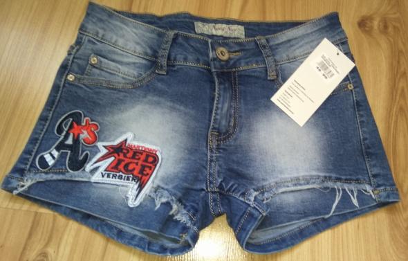 Spodenki Nowe jeansowe spodenki szorty naszywki przetarcia 34 XS