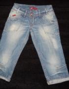 Spodnie jeansowe rybaczki przetarcia 36...
