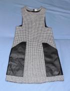 Sukienka dla dziewczynki w pepitkę Arkadian 134 skórzane wstawk...