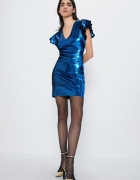 ZARA sukienka cekinowa mini niebieska 36 S nowa