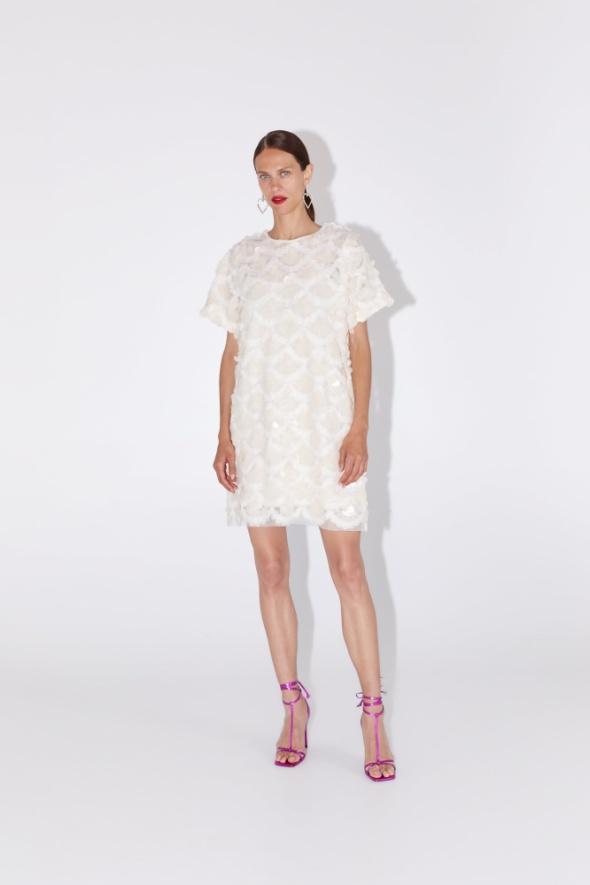 Suknie i sukienki Zara tiulowa sukienka z cekinami biała cekiny S 36 nowa