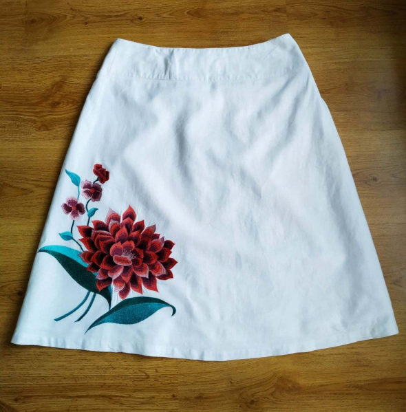 Biała spódnica len lniania hafty Atmosphere 40 L...