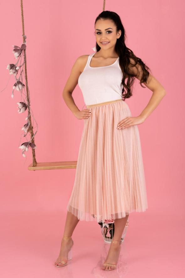 Spódnice wiosenna spódnica plisowana MIĘTOWA RÓŻOWA S M L XL
