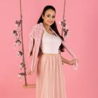 wiosenna spódnica plisowana MIĘTOWA RÓŻOWA S M L XL