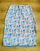 Beżowo niebieska spódnica kwiaty Paul Harris Design M 38...
