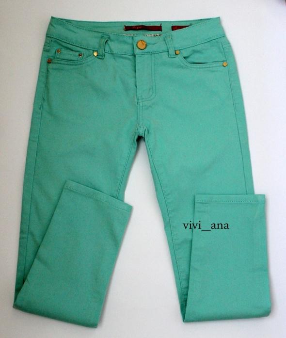 spodnie rurki miętowe S