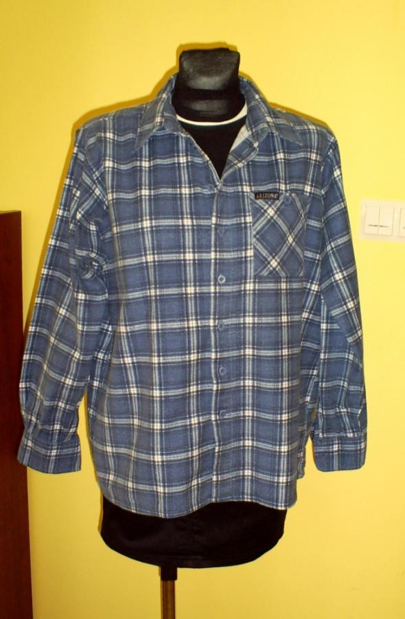 Granatowa flanelowa koszula w kratę