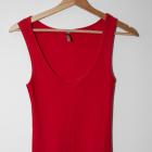 Czerwona długa sukienka dopasowana tuba na ramiączka
