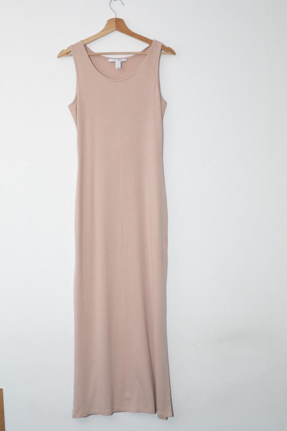 Suknie i sukienki NLY Trend długa dopasowana sukienka nude cielista bandage tuba
