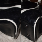 Czarna biała duża torba Diverse mieści A4 skórzana