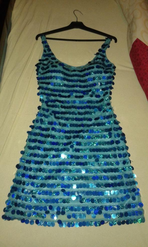 Sukienka wieczorowa cekiny niebieska rozmiar 38