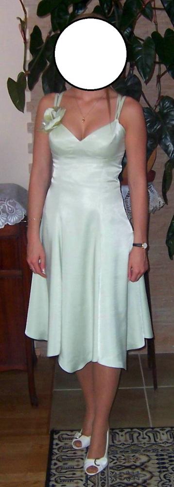 Pistacjowa sukienka na ramiączkach wiązany gorset S...